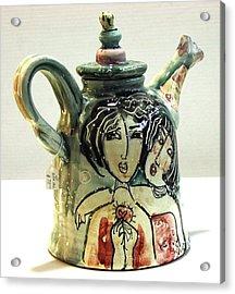 Majolica Tea Pot Acrylic Print by Kathleen Raven