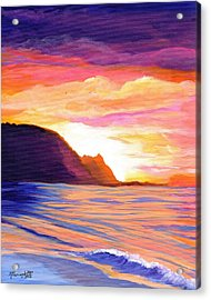 Acrylic Print featuring the painting Makana Sunset by Marionette Taboniar