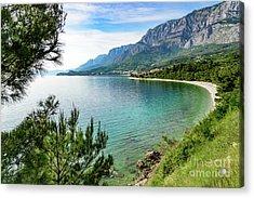 Makarska Riviera White Stone Beach, Dalmatian Coast, Croatia Acrylic Print