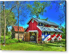 Acrylic Print featuring the photograph Make America Great Again Barn American Flag Art by Reid Callaway