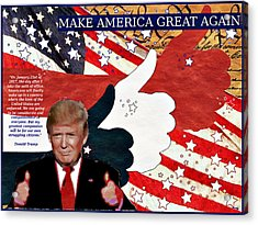 Make America Great Again - President Donald Trump Acrylic Print by Glenn McCarthy Art and Photography