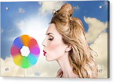 Makeup Beauty Girl Blowing Hair Colors Palette Acrylic Print by Jorgo Photography - Wall Art Gallery