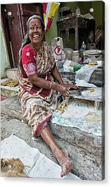 Acrylic Print featuring the photograph Making Chapatti by Marion Galt