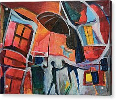 Acrylic Print featuring the painting Making Friends Under The Umbrella by Susan Stone