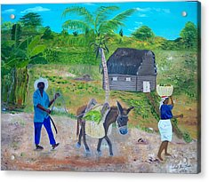 Acrylic Print featuring the painting Making Way For The Donkey by Nicole Jean-Louis