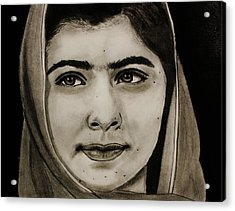 Malala Yousafzai- Teen Hero Acrylic Print by Michael Cross
