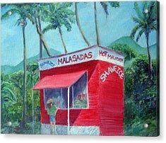 Malasada Stand Acrylic Print by Mike Segura