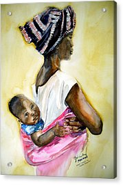 Malawian Mother Acrylic Print by Shirley Roma Charlton