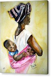 Malawian Mother Acrylic Print by Shirley Roma Charlton