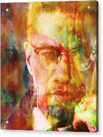 Malcolm X Acrylic Print by Dan Sproul