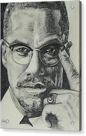 Malcolm X Acrylic Print by Stephen Sookoo