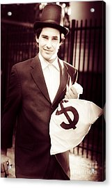 Male Banker Holding Dollar Sign Money Bags Acrylic Print by Jorgo Photography - Wall Art Gallery