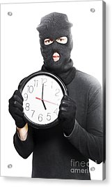 Male Criminal In Mask Holding A Clock Acrylic Print by Jorgo Photography - Wall Art Gallery