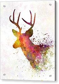Male Deer 02 In Watercolor Acrylic Print by Pablo Romero