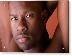 Male Model Portrait In Color Acrylic Print by Val Black Russian Tourchin