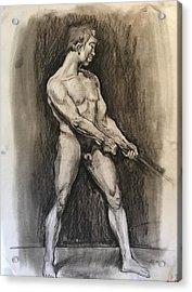 Male Nud Acrylic Print by Alejandro Lopez-Tasso