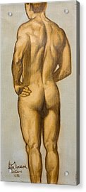 Male Nude Self Portrait By Victor Herman Acrylic Print by Joni Herman