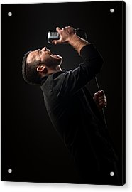 Male Singer Singing In Mic Acrylic Print by Johan Swanepoel