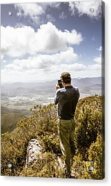 Male Tourist Taking Photo On Mountain Top Acrylic Print