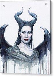 Maleficent Watercolor Portrait Acrylic Print