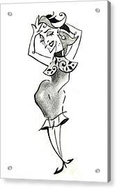Malena Tango - Sexy Woman Pencil Drawing Acrylic Print by Arte Venezia
