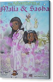 Acrylic Print featuring the digital art Malia And Sasha by Artists With Autism Inc