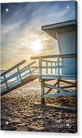 Malibu Lifeguard Tower #3 Sunset On Zuma Beach  Acrylic Print by Paul Velgos