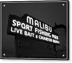 Malibu Pier Sign In Bw Acrylic Print