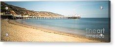 Malibu Pier Surfrider Beach Panorama Photo Acrylic Print by Paul Velgos