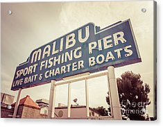 Malibu Sign Sport Fishing Pier Picture Acrylic Print by Paul Velgos