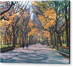 Mall Central Park New York City Acrylic Print by George Zucconi