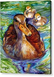 Mallard Mom And Ducklings Acrylic Print