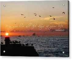 Mallory Square Sunset Quote Acrylic Print by JAMART Photography