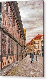 Malmo Narrow Street Painting Acrylic Print by Antony McAulay