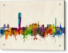 Malmo Sweden Skyline Acrylic Print by Michael Tompsett