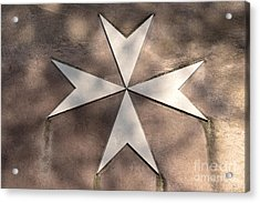 Maltese Cross In Travertine Acrylic Print