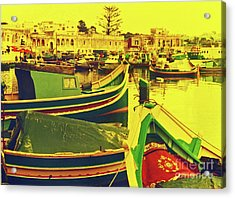 Maltese Fishing Village Acrylic Print by Elizabeth Hoskinson