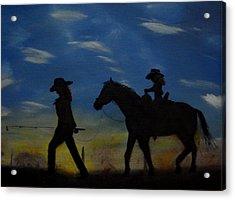 Mama And Daughter Going Fishing Acrylic Print by Edgar Verdin
