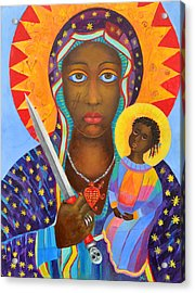 Mambo Mama Ezili Danto, Voodoo Goddess, Haiti New Orlean Black Madonna With Heart And Knife Acrylic Print by Magdalena Walulik