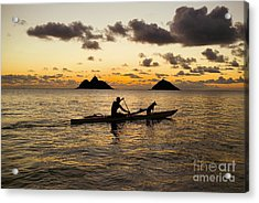 Man And Dog In Canoe Acrylic Print by Dana Edmunds - Printscapes