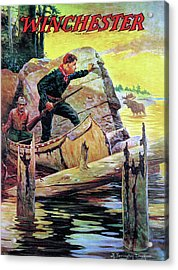 Acrylic Print featuring the painting Man And Guide In Canoe by R Farrington Elwell