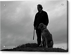 Man And His Dog In Silhouette Acrylic Print by Lorraine Devon Wilke