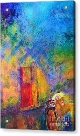 Acrylic Print featuring the painting Man And Horse On A Journey by Claire Bull
