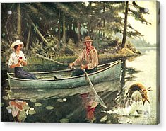 Man And Woman Fishing Acrylic Print by JQ Licensing