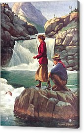 Man And Woman Fishing Acrylic Print