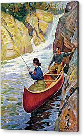 Man And Woman In Canoe Acrylic Print