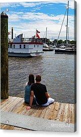 Man And Woman Sitting On Dock Acrylic Print