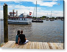 Man And Woman Sitting On The Dock Acrylic Print