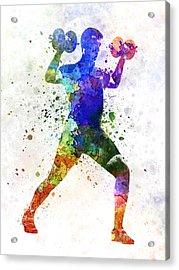 Man Exercising Weight Training Acrylic Print by Pablo Romero