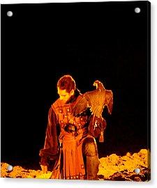 Man Holding An Eagle Acrylic Print by Art Spectrum